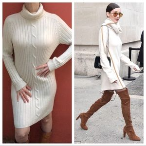 VGT Cable Knit Wool Sweater Dress Ivory